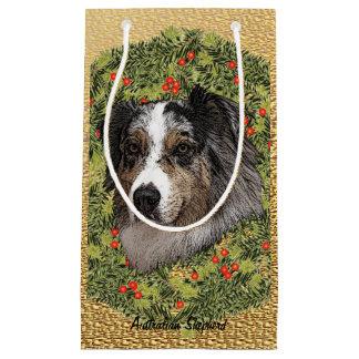 Australian Shepherd Wreath Small Gift Bag
