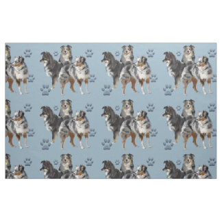 Australian Shepherds blue fabric