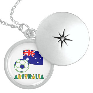 Australian Soccer Ball and Flag 1 Round Locket Necklace