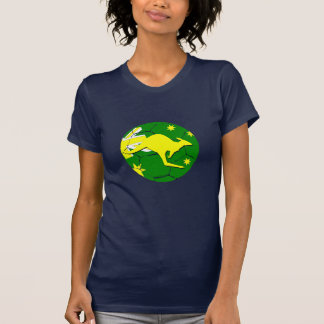 Australian soccer ball with kangaroo tee shirt