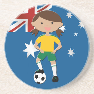 Australian Soccer Girl 4 Beverage Coasters