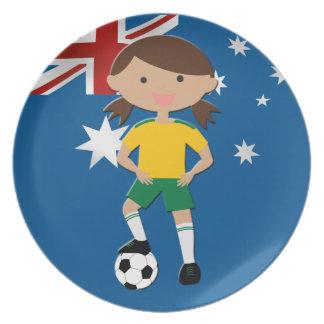 Australian Soccer Girl 4 Dinner Plates