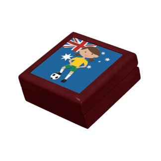 Australian Soccer Girl 4 Small Square Gift Box