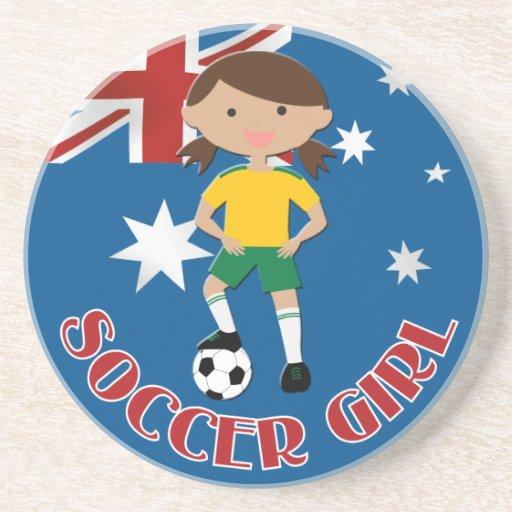 Australian Soccer Girl 4 v2 Beverage Coaster