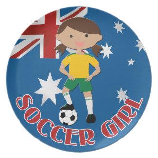 Australian Soccer Girl 4 v2 Dinner Plate