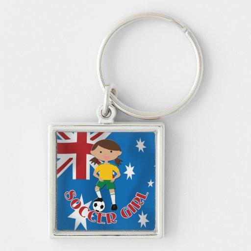 Australian Soccer Girl 4 v2 Keychains