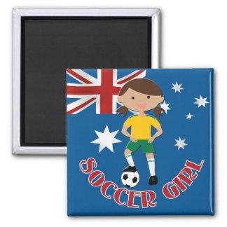 Australian Soccer Girl 4 v2 Square Magnet