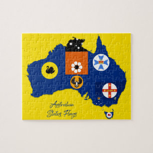 Australian State Flags Map, Educational Jigsaw Puzzle