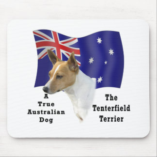 Australian Tenterfield Terrier Tan/white with Flag Mouse Pad