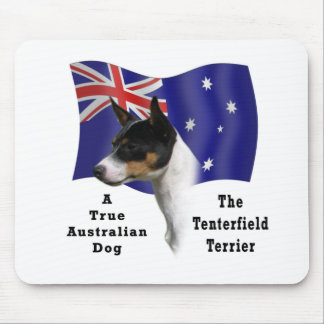 Australian Tenterfield Terrier tricolour with Flag Mouse Pad