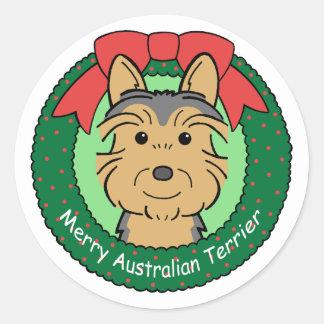 Australian Terrier Christmas Classic Round Sticker