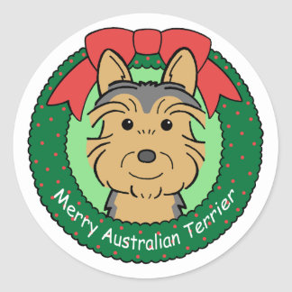 Australian Terrier Christmas Round Sticker