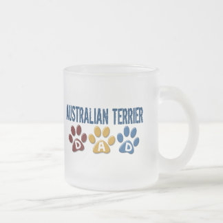 AUSTRALIAN TERRIER DAD Paw Print Frosted Glass Mug