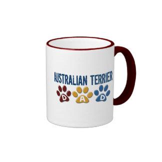 AUSTRALIAN TERRIER DAD Paw Print Ringer Mug