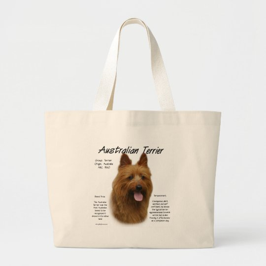 Australian Terrier History Design Large Tote Bag