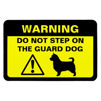 Australian Terrier (long tail) Guard Dog Warning Rectangular Photo Magnet