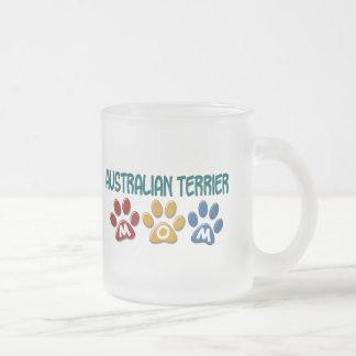 AUSTRALIAN TERRIER MOM Paw Print Frosted Glass Mug