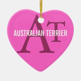 Australian Terrier Monogram Ceramic Heart Decoration