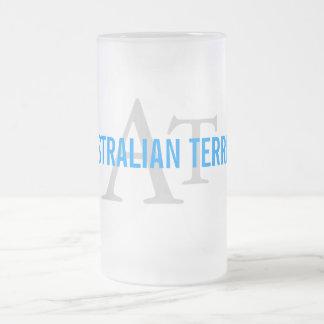 Australian Terrier Monogram Frosted Glass Beer Mug