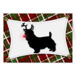 Australian Terrier Reindeer Christmas Card