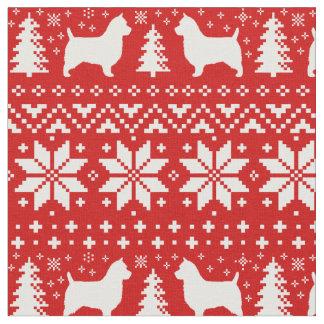 Australian Terrier Silhouettes Christmas Pattern Fabric