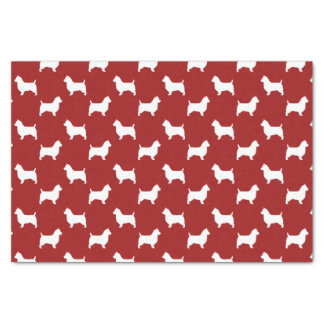 Australian Terrier Silhouettes Pattern Red Tissue Paper