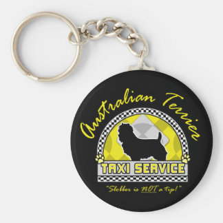 Australian Terrier Taxi Service Basic Round Button Key Ring