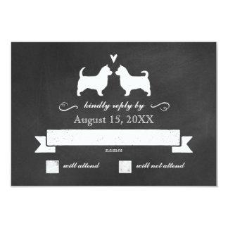 Australian Terriers (Long Tails) Wedding RSVP 9 Cm X 13 Cm Invitation Card