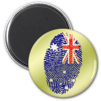 Australian touch fingerprint flag 6 cm round magnet