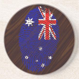 Australian touch fingerprint flag coaster