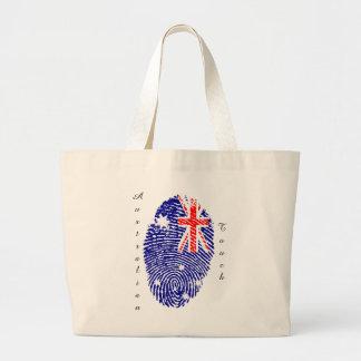 Australian touch fingerprint flag large tote bag