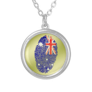 Australian touch fingerprint flag silver plated necklace