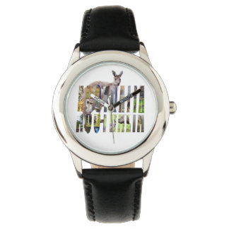 Australian Wildlife Logo, Kids Black Leather Watch