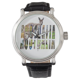 Australian Wildlife Logo, Mens Leather Watch