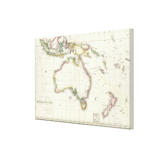 Austria and Indonesia Engraved Map Canvas Print