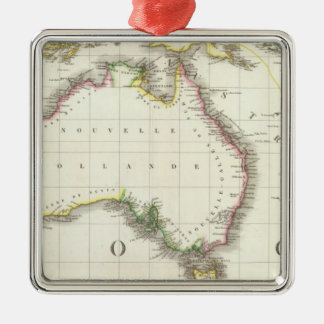 Austria and Indonesia Engraved Map Silver-Colored Square Decoration