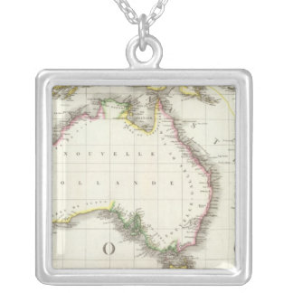 Austria and Indonesia Engraved Map Silver Plated Necklace