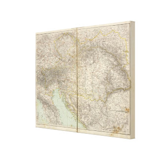 Austria Atlas Map Canvas Print