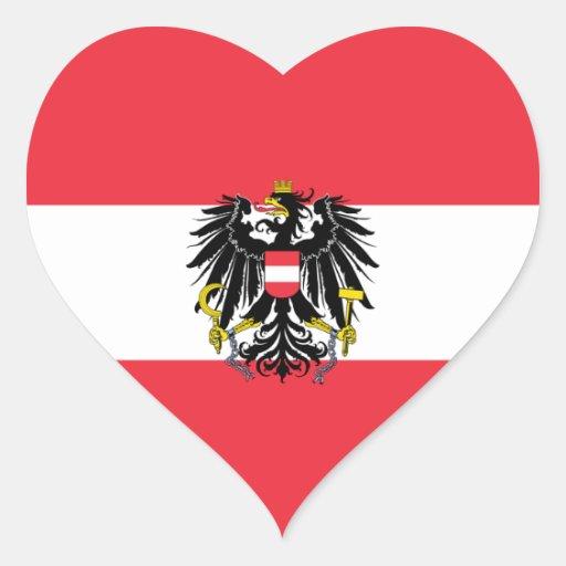 Austria/Austrian Heart Flag Heart Stickers