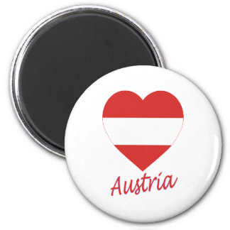 Austria (civil) Flag Heart 6 Cm Round Magnet