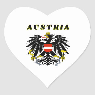 AUSTRIA Coat Of Arms Heart Stickers