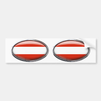 Austria Flag Glass Oval Bumper Sticker