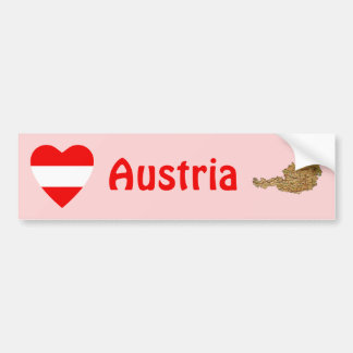 Austria Flag Heart + Map Bumper Sticker