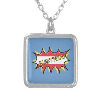 Austria Flag Kapow Comic Style Star Square Pendant Necklace