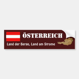 Austria Flag + Map Bumper Sticker