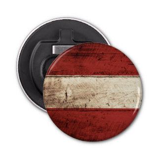 Austria Flag on Old Wood Grain Bottle Opener