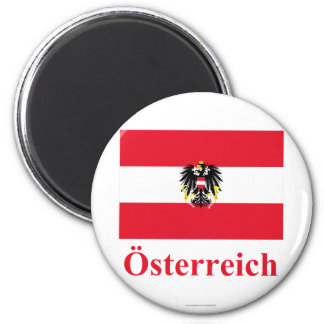 Austria Flag with Name in German 6 Cm Round Magnet