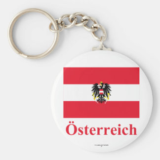 Austria Flag with Name in German Basic Round Button Key Ring