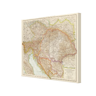 Austria Hungarian Empire Map Canvas Print