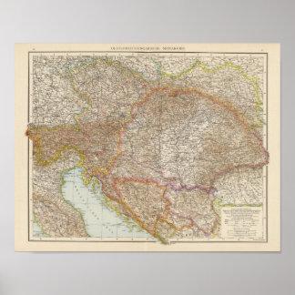 Austria Hungarian Empire Map Poster